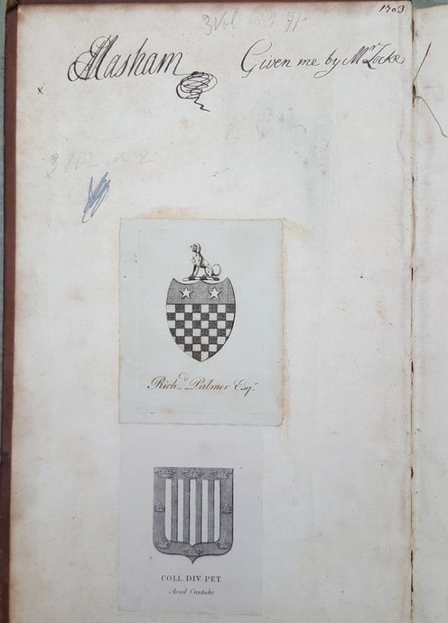 Provenance inscription by Esther Masham